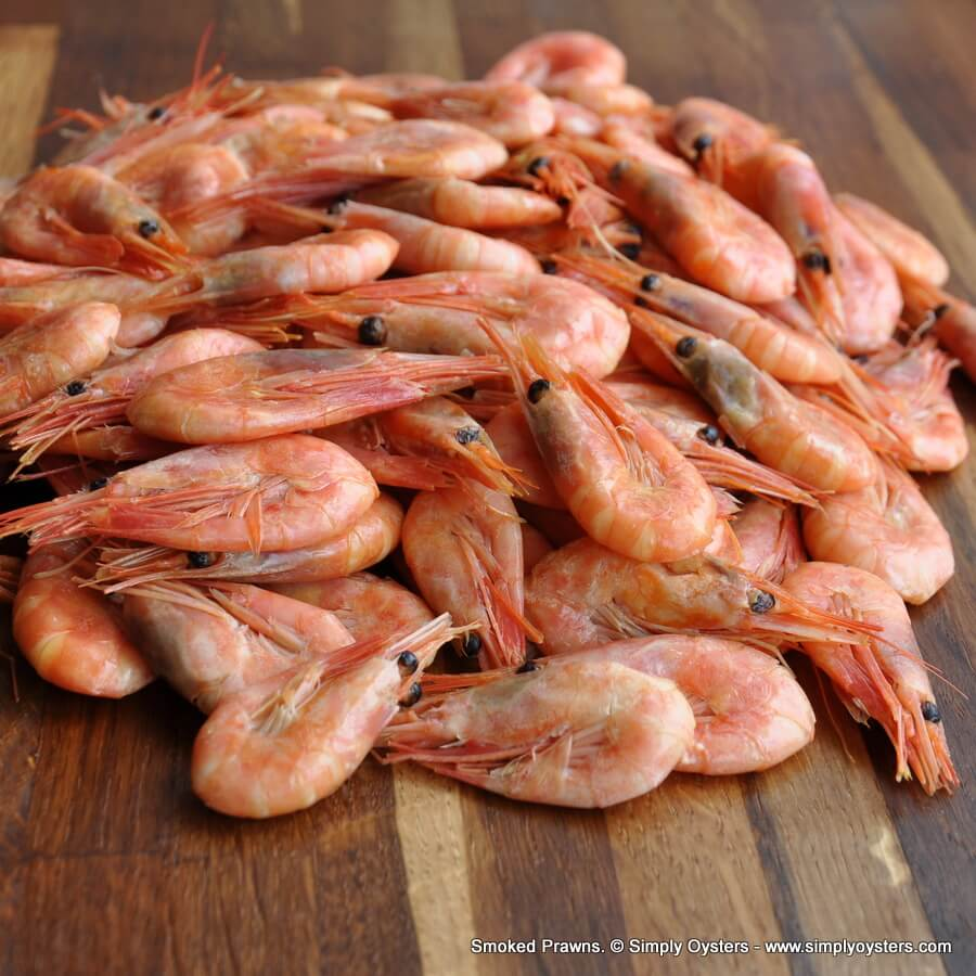 Hot Smoked Prawns Whole (1kg Packs)